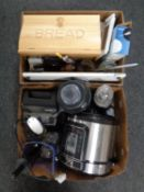 Two boxes containing kitchen Vitamix food mixer, Pressure King pressure cooker, bread bin,