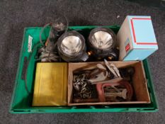 A crate of Record woodworking plane, G clamp, ring spanners, AEG angle grinder, staple gun,