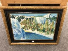 Continental school : A snow covered landscape, oil on canvas,