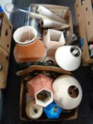 Three boxes of glass yard of ale, LP box sets, table lamps, serving trays,