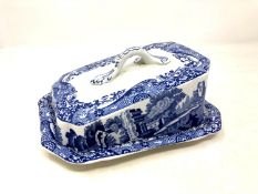 A Copeland Spode's Italian blue and white cheese dish and cover