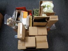 Three boxes containing boxed items to include Cooper's potted plants, pressure sprayer,