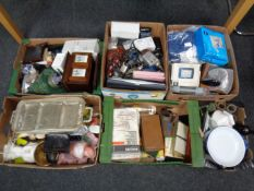 Six boxes of miscellany to include glass ware, metal ware, vintage power tools, vintage bottles,