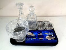 A tray containing assorted glass ware to include boxed Waterford crystal servers,