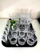 A tray of a quantity of assorted drinking glasses to include a set of six Edinburgh crystal whisky