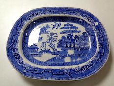A 19th century Willow pattern meat plate