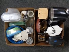 Two boxes containing kitchen ware to include toaster, water filter jugs,