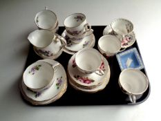 A tray containing assorted china to include two part Duchess china tea services together with a
