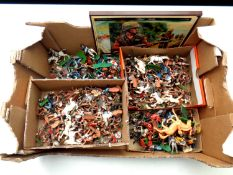 A box of a large quantity of mid 20th century plastic soldiers to include Britains,