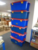 Seven Contico plastic storage boxes with lids