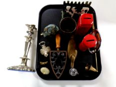 A tray containing assorted metal wares to include plated candlestick,