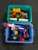 Two boxes containing children's toys to include plastic and die cast vehicles to include a Corgi