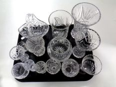A tray containing lead crystal and cut glassware to include vases,
