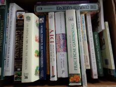 Three boxes containing a large quantity of hardback and paperback books to include gardening