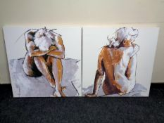 A pair of contemporary wall canvases,