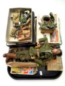 A tray of mid 20th century Action Man, assorted plastic soldiers and vehicles,