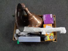 A box containing miscellany to include eastern copper urn, cast iron rabbit door stop,