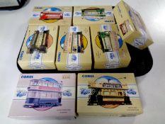 8 Corgi die cast trams (boxed)