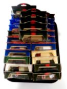 A tray containing 25 die cast vehicles to include Days Gone, Military, Royal Mail,