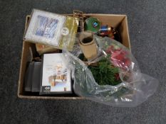 A box containing a quantity of boxed Christmas cards together with a metal Christmas train and an