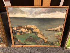 Continental school : Rocks by a coastline, oil on canvas,