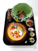 A tray containing a Maling octagonal bowl, a Wedgwood Landscapes of Clarice Cliff plate,
