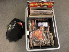 A large quantity of mainly vinyl 45 singles and some LP's to include Black Sabbath, Iron Maiden,