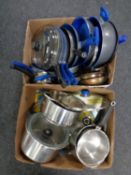 Two boxes containing a quantity of aluminium kitchen pans with lids to include Flavorstone
