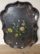 A 19th century papier mache tray (a/f)