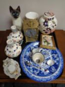 A tray of carriage clock and assorted ceramics to include Royal Crown Derby miniature mug and