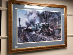 After Terrance Cuneo : Cathedrals Express, colour print, 77 x 50 cm,