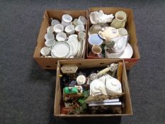 Three boxes containing miscellaneous to include dinner ware, Ringtons teapots,