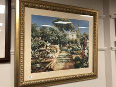 A contemporary gilt framed print, steps in a flower garden,