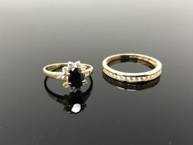 Two 14ct gold cluster and eternity rings