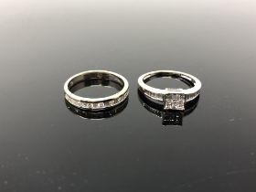 Two 18ct gold diamond set rings