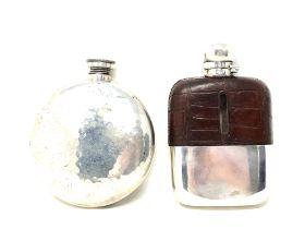 Two vintage hip flasks
