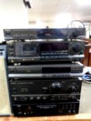Five hifi separates to include Technics quartz synthesizer ST-G570L, stereo cassette deck RS-B765,