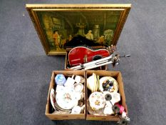 Three boxes containing miscellaneous to include wall and cabinet plates, cabinet china, dinnerware,