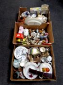 Three boxes containing miscellaneous china to include part dinner service, animal ornaments,
