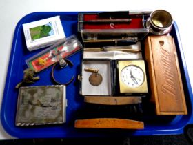 A tray containing miscellaneous to include stirrup cup in case, silver mechanical pencil,