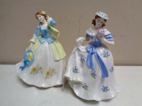 Two Royal Worcester limited edition figures, Sweet Forget Me Not and Sweet Daffodil,