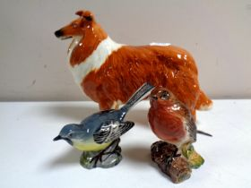 A large Beswick figure of a dog, Border Collie, together with two Beswick figures, birds,
