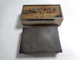 An Arts and Crafts Norwegian pewter cigarette box together with a Gilbert S.