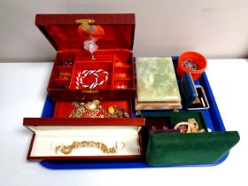 A tray containing jewellery boxes containing costume jewellery, gents cuff links, earrings,