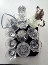 A tray of 20th century pressed glassware including silver plate mounted claret jug,