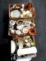 Three boxes containing miscellaneous china and glassware, pair of Portmeirion candlesticks,