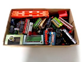 A box containing a large quantity of boxed and unboxed die cast buses including Lledo,