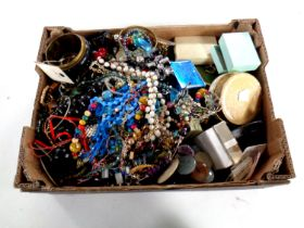 A box containing a large quantity of costume jewellery