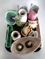 A tray containing Maling lustre bowl, Poole Pottery slender dish, Chokin ware vases,