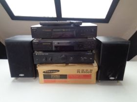 A boxed Samsung PL8300S stereo turntable together with a Cambridge Audio A1 integrated amplifier,